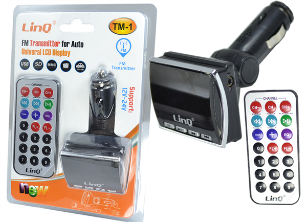 TRASMETTITORE FM BLUETOOTH MP3 USB SD MMC PER AUTO LINQ TM-1