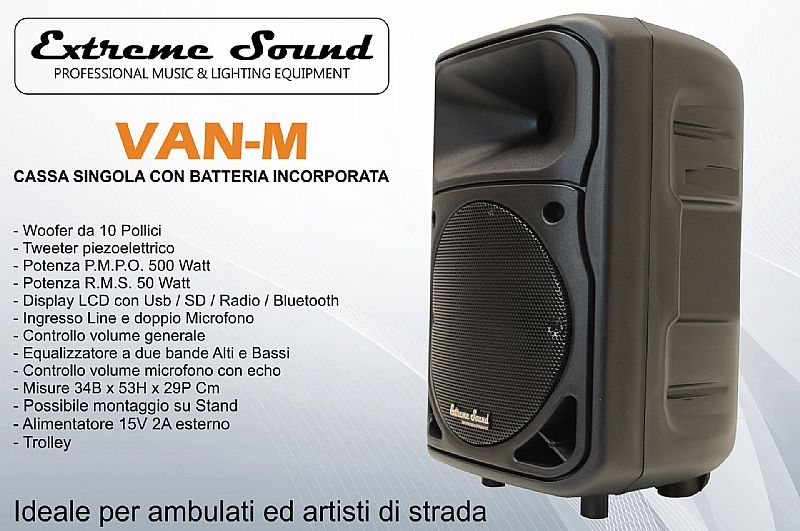 CASSA AUDIO 500 W TROLLEY Extreme Sound Bluetooth USB RADIO FM KARAOKE VAN-M