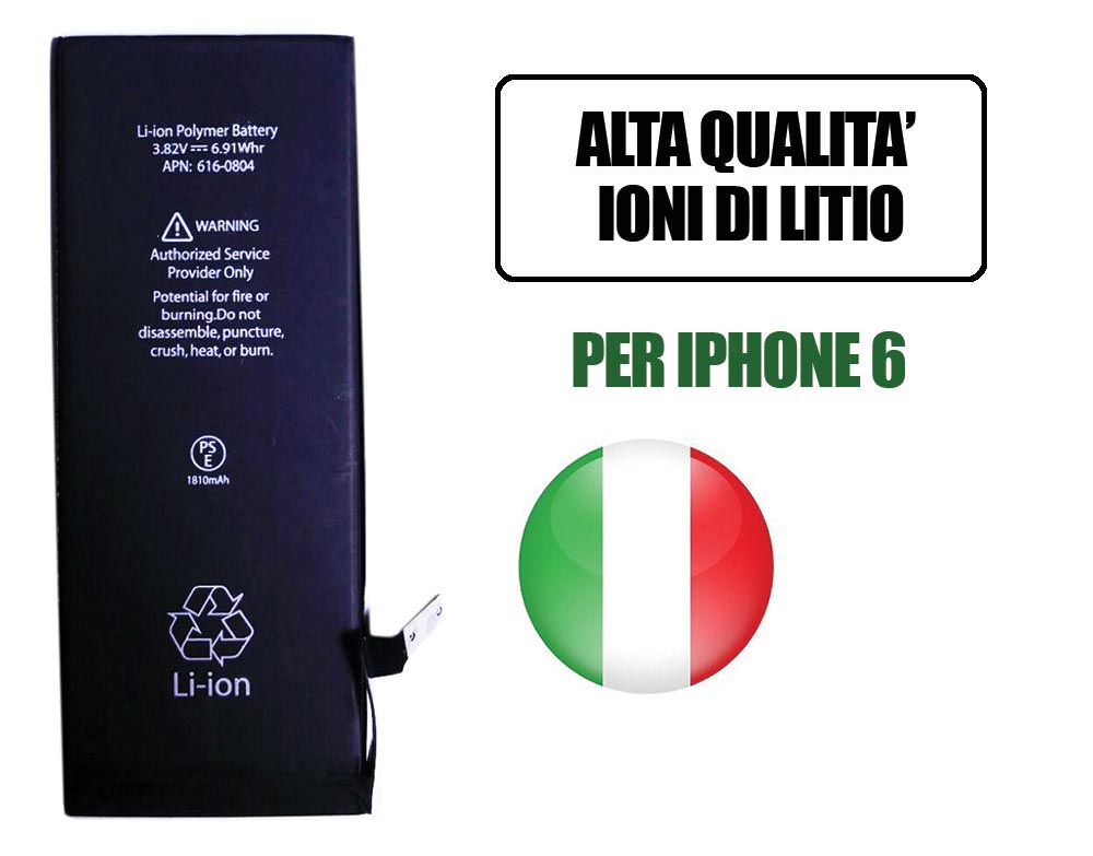 BATTERIA DI RICAMBIO PER IPHONE 6 1810MAH AGLI IONI DI LITIO IPHONE 6