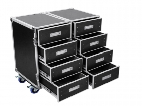 Flight Case, Rack Insurance with 8 drawers and wheels Max 100kg ROADINGER DD-2